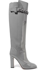 Valentino Patent Leather Boots Gray