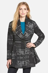 Kensie Geo Pattern Shawl Collar Coat Online Only Charcoal