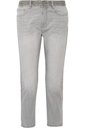 Etoile Isabel Marant Andreas Embroidered Mid Rise Straight Leg Jeans Gray