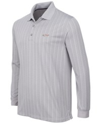 Greg Norman For Tasso Elba Men's Striped Long Sleeve Polo Only At Macy's Silver