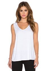 Three Dots Fit And Flare Sleeveless Tank White