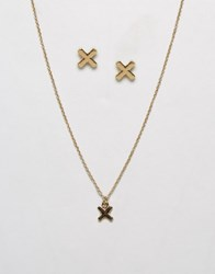 Johnny Loves Rosie Cross Detail Necklace And Earring Gift Set Gold