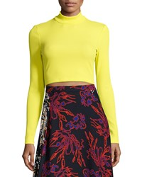 Tanya Taylor Ren Ribbed Mock Neck Crop Top Size 0 Yellow