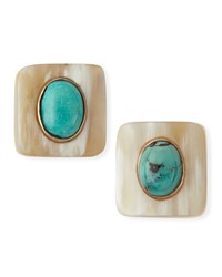 Maji Light Horn Turquoise Stud Earrings Ashley Pittman