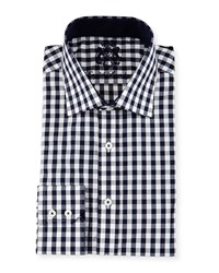 English Laundry Check Woven Dress Shirt Navy
