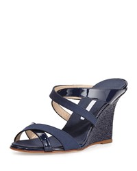 Varchi Patent Leather And Linen Crisscross Wedge Sandal Navy Manolo Blahnik