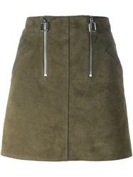 Courreges Zip Detail A Line Mini Skirt Green