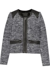 Line Hyde Leather Trimmed Woven Jacket Black