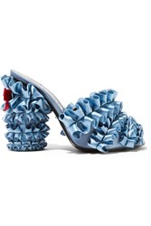 Marco De Vincenzo Velvet Trimmed Ruffled Satin Mules Light Blue