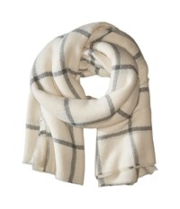 Hat Attack Windowpane Scarf Ivory Grey Scarves Gray