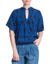 Plenty By Tracy Reese Printed Blouson Top Blue