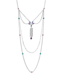 Catherine Stein Feather Stone Pendant Necklace Blue