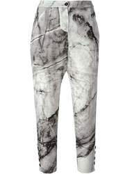 Lost And Found Printed Cropped Trousers Green