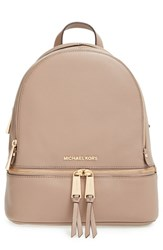 Michael Michael Kors 'Small Rhea Zip' Leather Backpack Brown Dark Dune