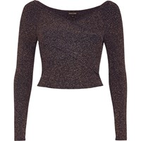 River Island Womens Navy Sparkly Bardot Wrap Crop Top