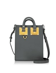 Sophie Hulme Charcoal Saddle Leather Albion Nano Tote Bag Dark Gray
