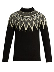 Saint Laurent Zigzag Intarsia Wool Sweater Black Multi