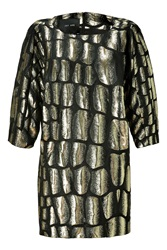 Jay Ahr Gold And Black Brocade Dress