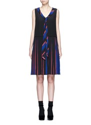Marc Jacobs Stripe Pleat Silk V Neck Shift Dress Multi Colour