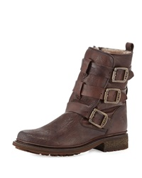 Valerie Strappy Shearling Boot Dark Brown Frye