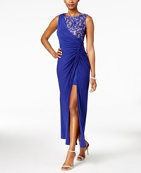 R And M Richards Petite Draped Lace Faux Wrap Gown Cobalt
