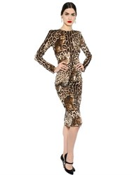 Dolce And Gabbana Leopard Stretch Silk Georgette Dress