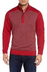 Bobby Jones Men's Houndstooth Alpaca Quarter Zip Sweater Rio Red