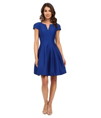 Halston Short Sleeve Notch Neck Dress With Tulip Skirt Cobalt Women's Dress Blue