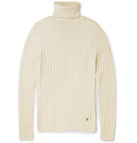 Gucci Ribbed Alpaca And Wool Blend Turtleneck Sweater White