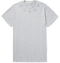 Givenchy Columbian Fit Embroidered Cotton Jersey T Shirt Gray