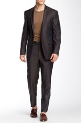 Kenneth Cole Reaction Two Button Notch Lapel Wool Suit Brown