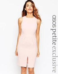 Asos Petite Exclusive Sleeveless Wiggle Dress In Crepe With Open Back And D Ring Duskypink