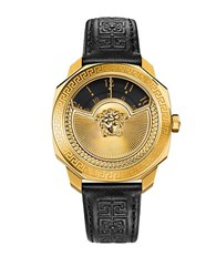 Versace Leather And Stainless Steel Watch Vqu020015 Black