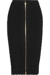 Herve Leger Scalloped Bandage Pencil Skirt Black