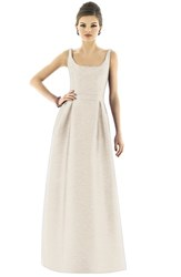 Women's Alfred Sung Scoop Neck Dupioni Full Length Dress Champagne