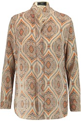 By Malene Birger Oniva Printed Silk Crepe De Chine Blouse Nude