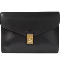 Lock And Key Bridle Leather Document Case Black