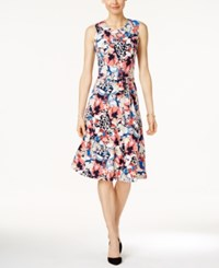 Charter Club Floral Print Fit And Flare Dress Only At Macy S Coral Bloom Combo