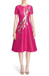 Women's Pamella Roland Embellished Silk Faille Fit And Flare Dress