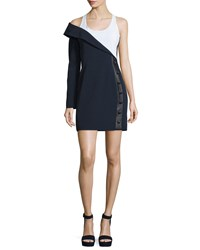 Thierry Mugler Scoop Neck Asymmetric Sheath Dress Navy White Women's Navy White