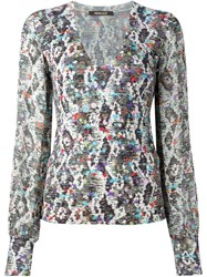 Roberto Cavalli Printed V Neck Sweater Multicolour