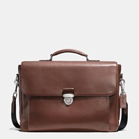 Coach Metropolitan Briefcase In Sport Calf Leather Silver Mahogany