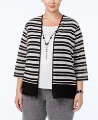 Alfred Dunner Plus Size Wrap It Up Collection Layered Look Necklace Top Oxford