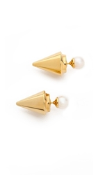 Vita Fede Double Titan Earrings Gold Pearl