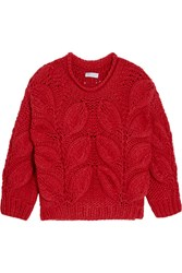 Brunello Cucinelli Chunky Knit Cashmere Sweater Red