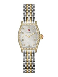 Michele Urban Coquette Diamond Mother Of Pearl 18K Goldplated And Stainless Steel Bracelet Watch Silver Gold