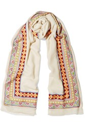 Janavi Embellished Merino Wool And Cashmere Blend Scarf Ivory