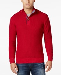 Weatherproof Vintage Men's Mock Turtleneck Button Sweater Bandana Red