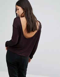 Noisy May Drape Back Knit Jumper Decadent Chocolate Brown
