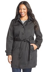 Plus Size Women's Michael Michael Kors Single Breasted Raincoat Black
